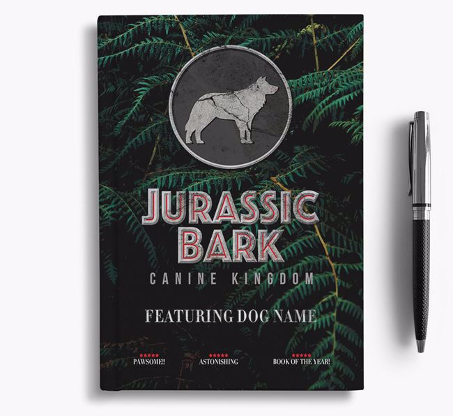 'Jurassic Bark' - Personalized Border Collie Notebook