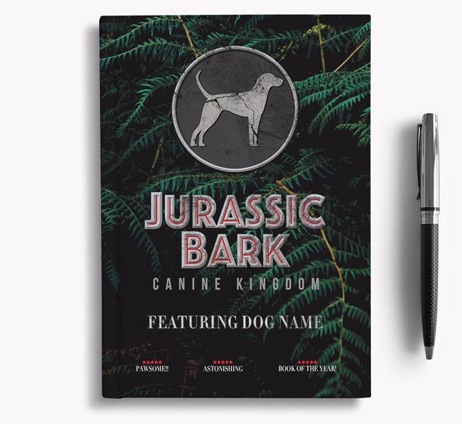 'Jurassic Bark' - Personalized English Coonhound Notebook