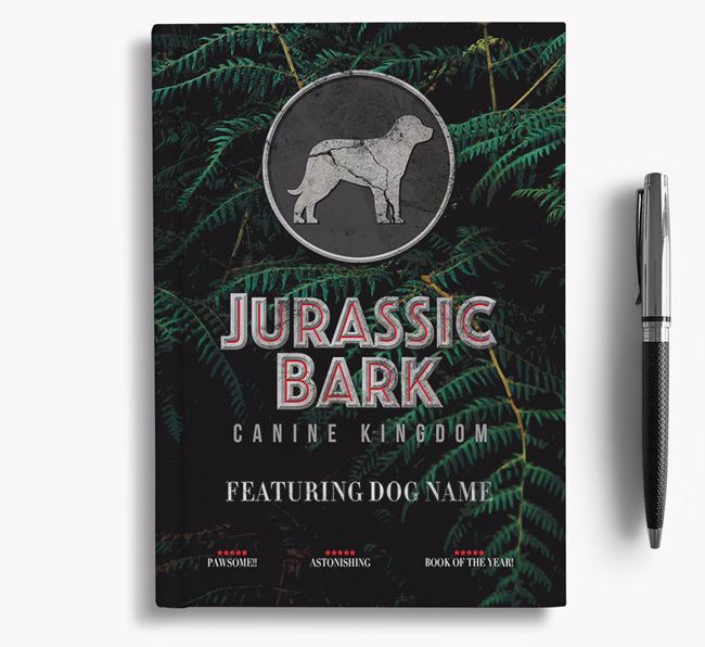 'Jurassic Bark' - Personalized Greater Swiss Mountain Dog Notebook