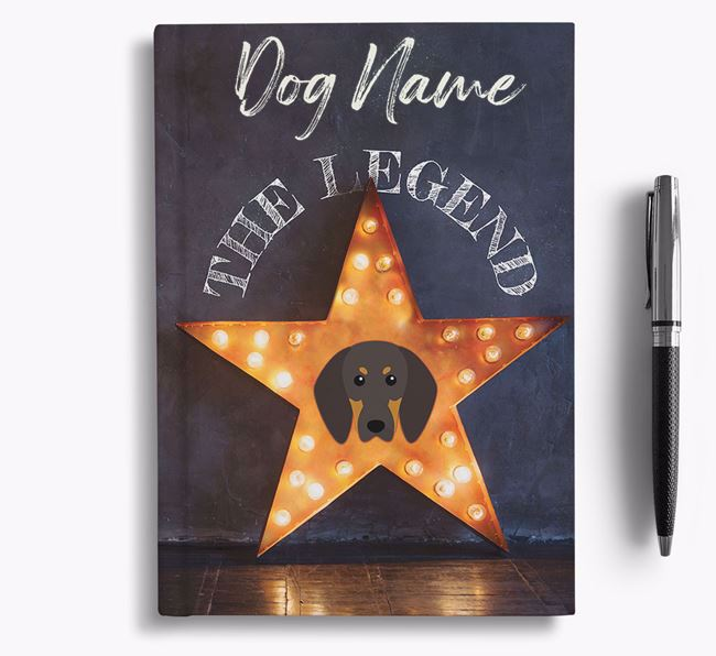 'The Legend' - Personalized Black and Tan Coonhound Notebook