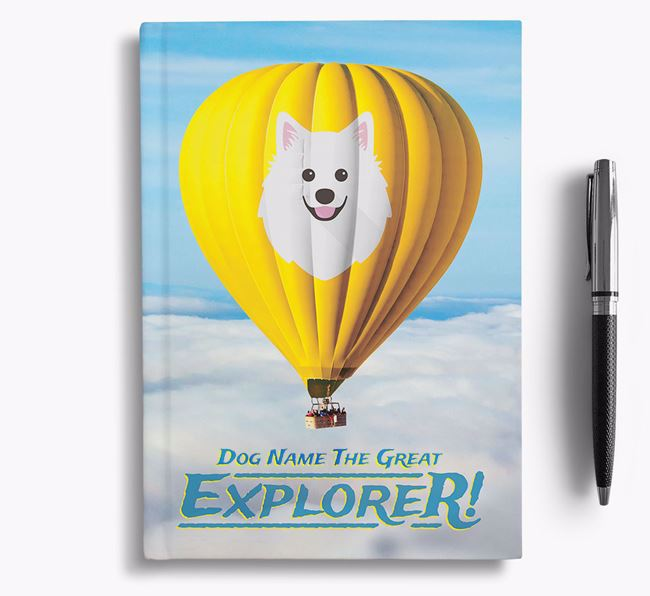 'Hot Air Balloon' - Personalized American Eskimo Dog Notebook
