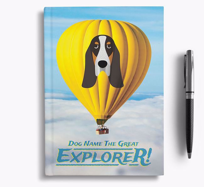 'Hot Air Balloon' - Personalized Basset Bleu De Gascogne Notebook