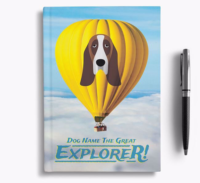 'Hot Air Balloon' - Personalized Basset Hound Notebook