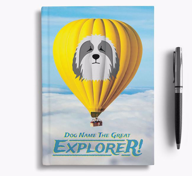 'Hot Air Balloon' - Personalized Bearded Collie Notebook