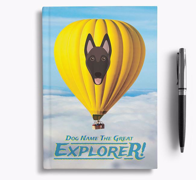 'Hot Air Balloon' - Personalized Belgian Malinois Notebook