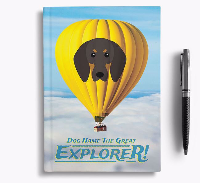 'Hot Air Balloon' - Personalized Black and Tan Coonhound Notebook