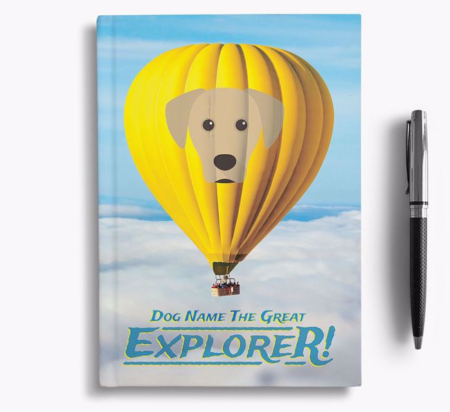 'Hot Air Balloon' - Personalized Blue Lacy Notebook