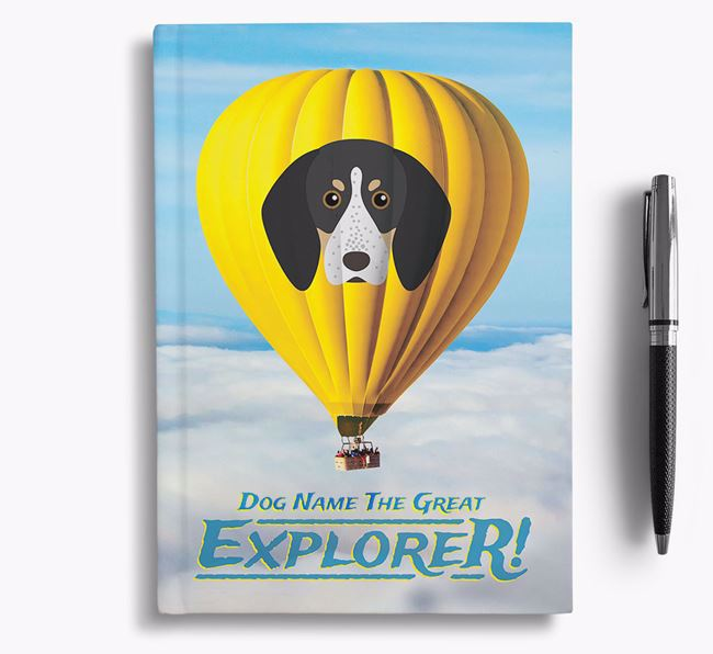 'Hot Air Balloon' - Personalized Bluetick Coonhound Notebook