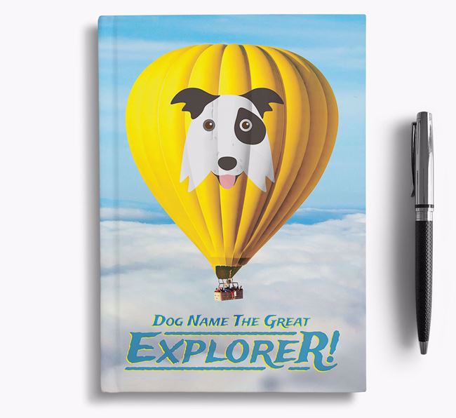 'Hot Air Balloon' - Personalized Border Collie Notebook