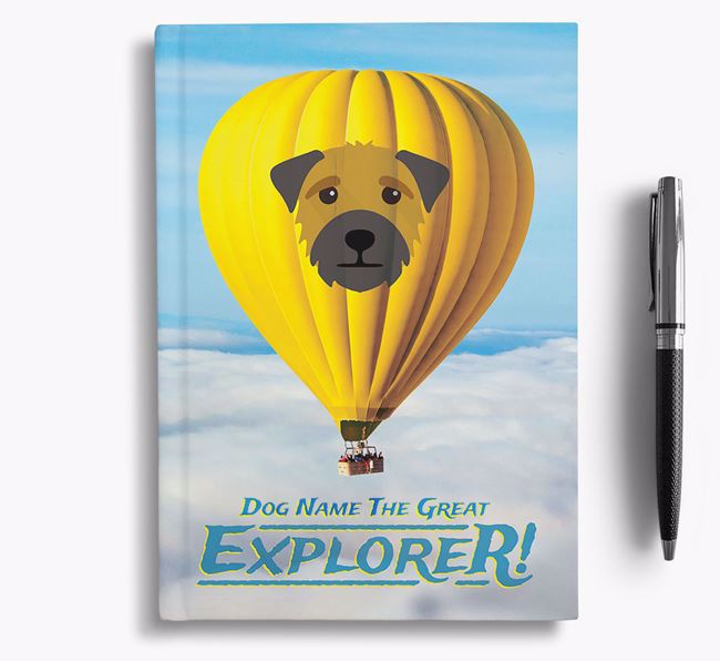 'Hot Air Balloon' - Personalized Border Terrier Notebook
