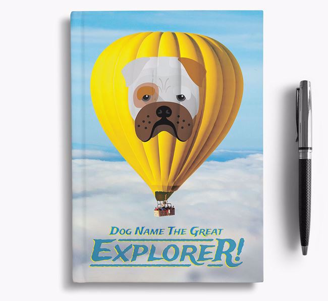 'Hot Air Balloon' - Personalized Bull Pei Notebook
