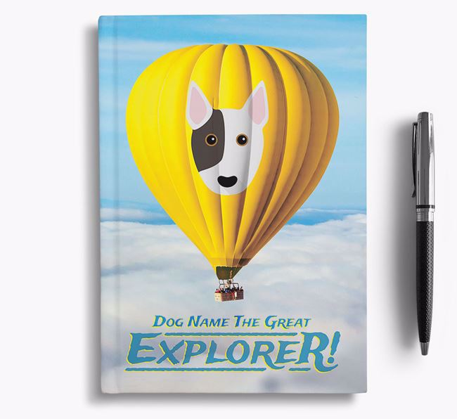 'Hot Air Balloon' - Personalized Bull Terrier Notebook