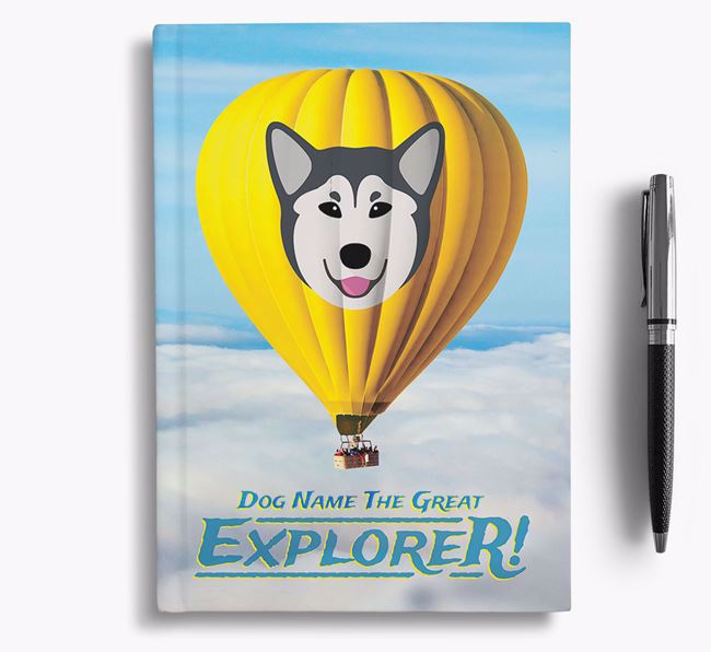 'Hot Air Balloon' - Personalized Canadian Eskimo Dog Notebook
