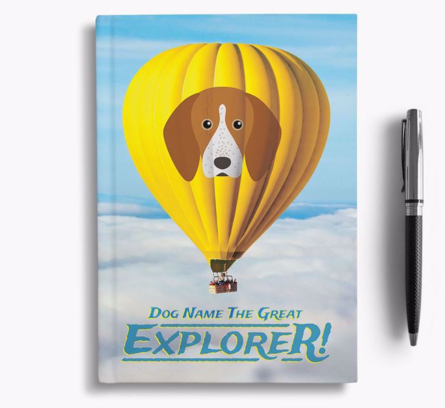 'Hot Air Balloon' - Personalized English Coonhound Notebook
