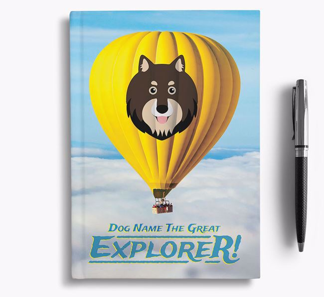 'Hot Air Balloon' - Personalized Finnish Lapphund Notebook