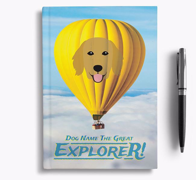 'Hot Air Balloon' - Personalized Flat-Coated Retriever Notebook