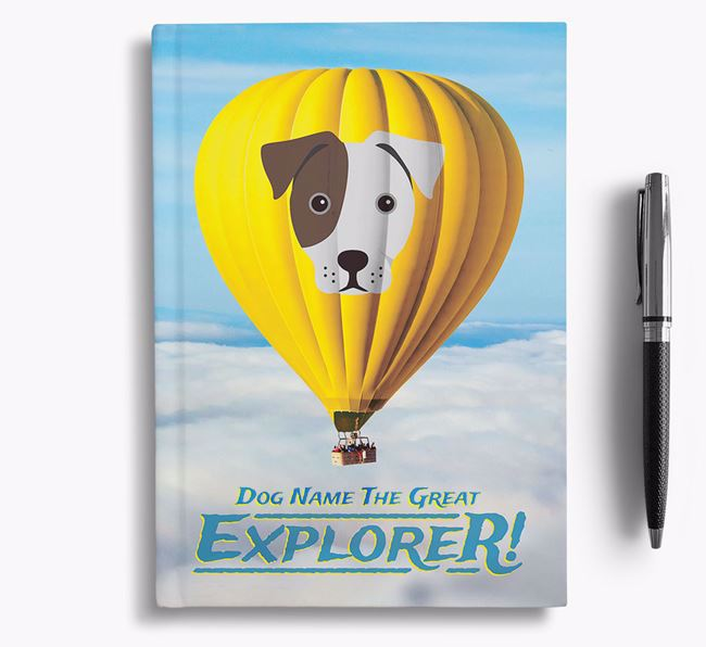 'Hot Air Balloon' - Personalized French Bull Jack Notebook