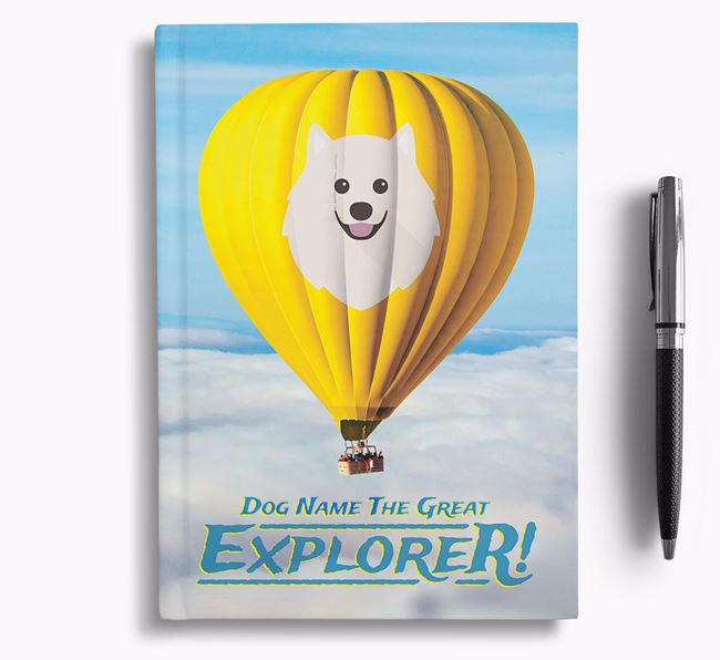 'Hot Air Balloon' - Personalized Japanese Spitz Notebook