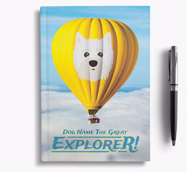 'Hot Air Balloon' - Personalized Maltipom Notebook