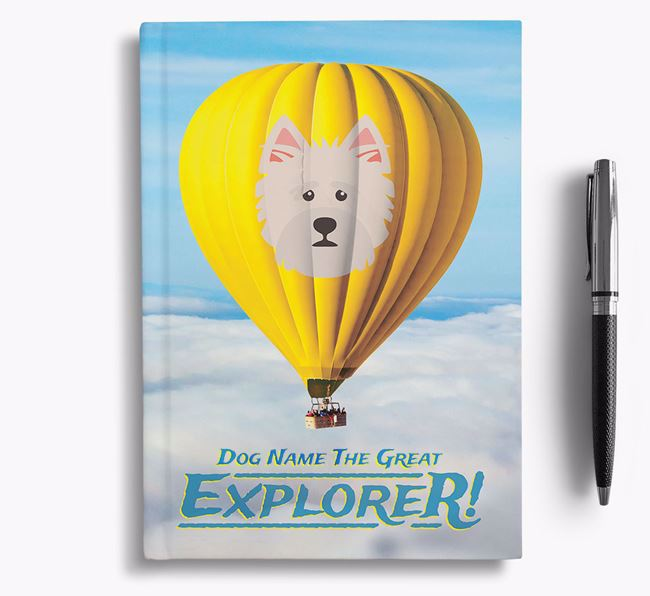 'Hot Air Balloon' - Personalized Norwich Terrier Notebook