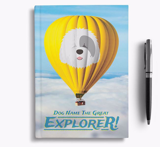 'Hot Air Balloon' - Personalized Old English Sheepdog Notebook