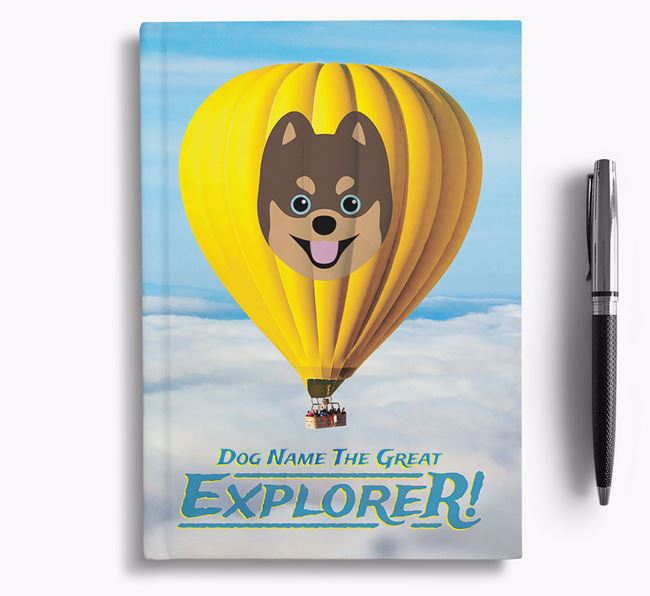 'Hot Air Balloon' - Personalized Pomsky Notebook