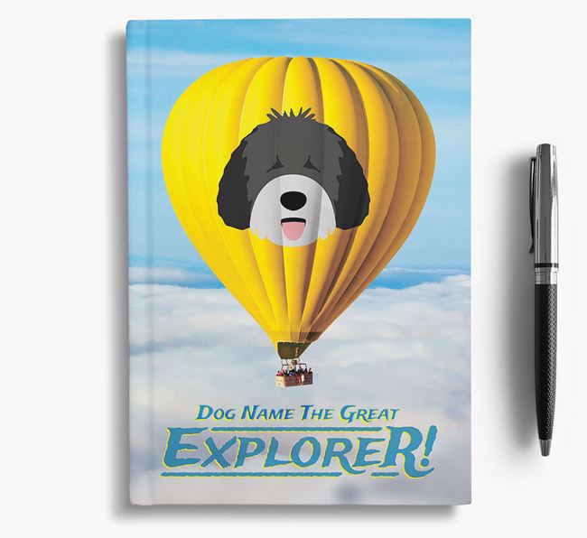 'Hot Air Balloon' - Personalized Spanish Water Dog Notebook