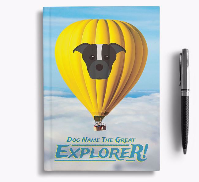'Hot Air Balloon' - Personalized Staffordshire Bull Terrier Notebook