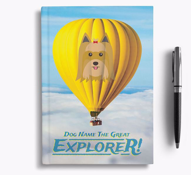 'Hot Air Balloon' - Personalized Yorkshire Terrier Notebook