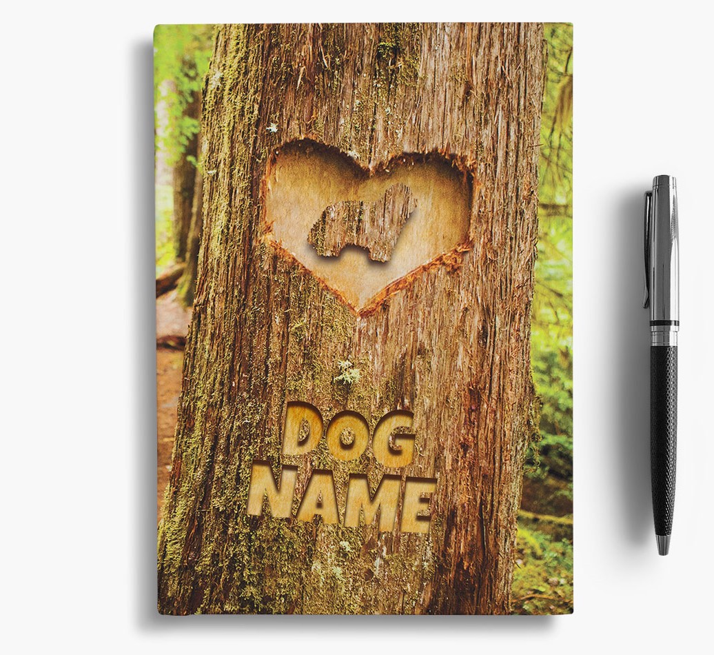Tree Carving Bearded Collie Notebook