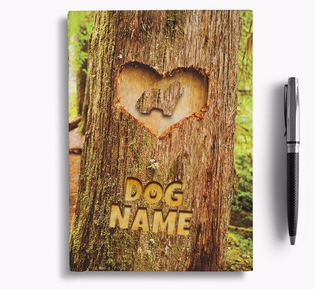 Tree Carving - Personalized Bearded Collie Notebook