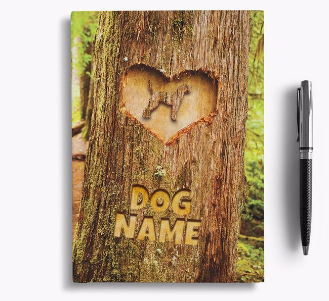 Tree Carving - Personalized Redbone Coonhound Notebook