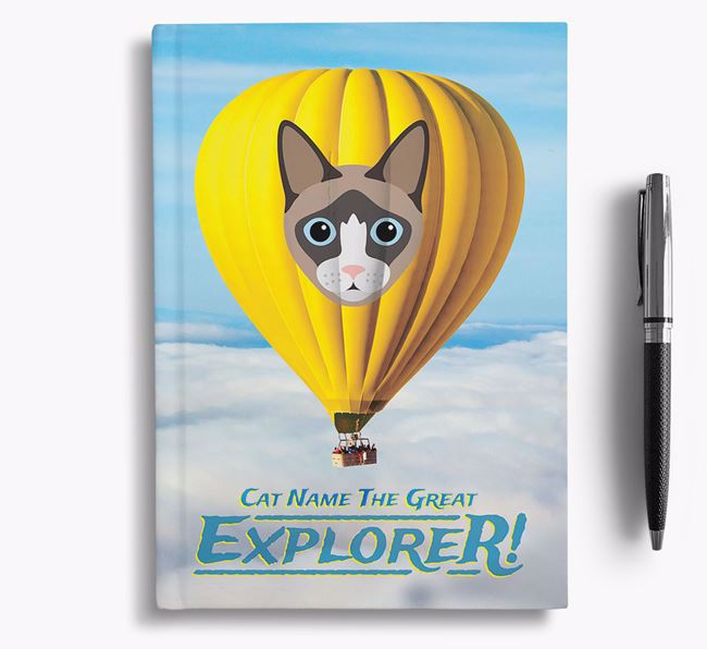 Hot Air Balloon - Personalized Cat Notebook