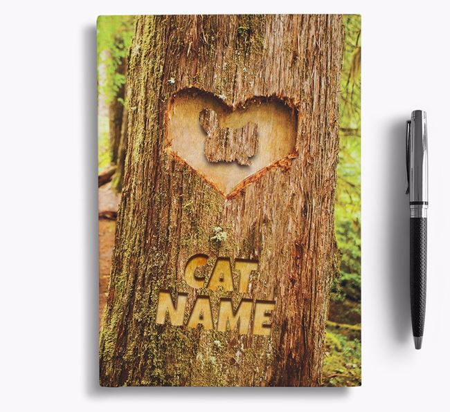 Tree Carving - Personalized Cat Notebook