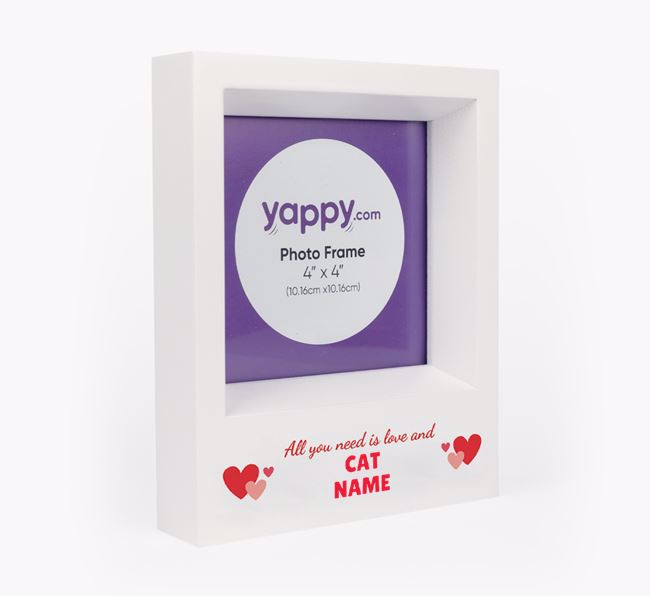 'All You Need is Love' - Personalised Cat Photo Frame