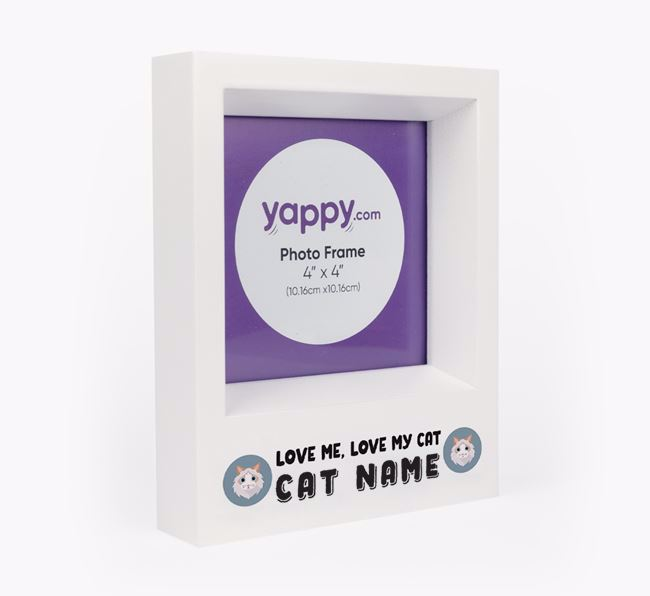 'Love Me, Love Your Cat' - Personalised Cat Photo Frame