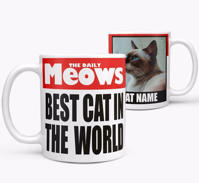 Personalised Photo Upload Mug 'Newspaper - Best Cat Ever' with Your Cat's Photo