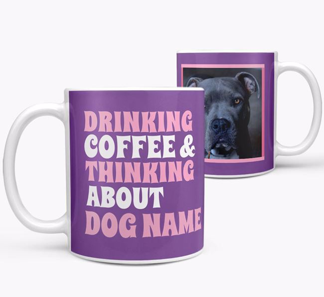 'Drinking Coffee...' - Personalized American Pit Bull Terrier Photo Upload Mug