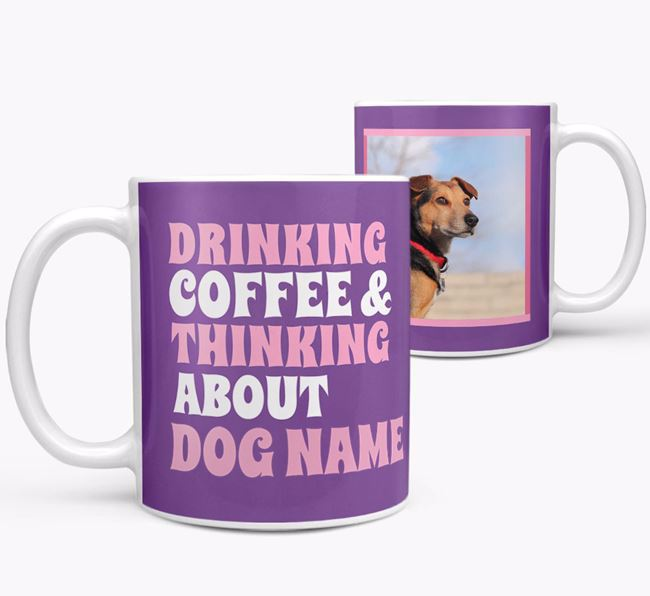 'Drinking Coffee...' - Personalized American Staffordshire Terrier Photo Upload Mug