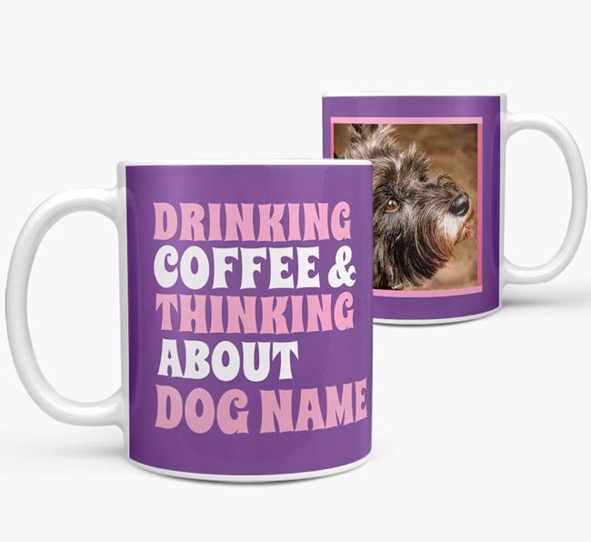 'Drinking Coffee...' - Personalized Cairn Terrier Photo Upload Mug