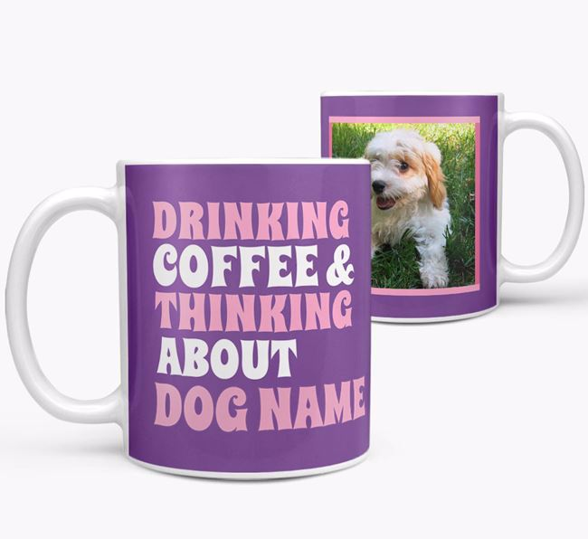 'Drinking Coffee...' - Personalized Cavachon Photo Upload Mug