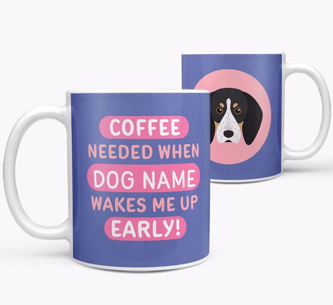 'Coffee Needed when...' Mug - Personalized for your Bluetick Coonhound