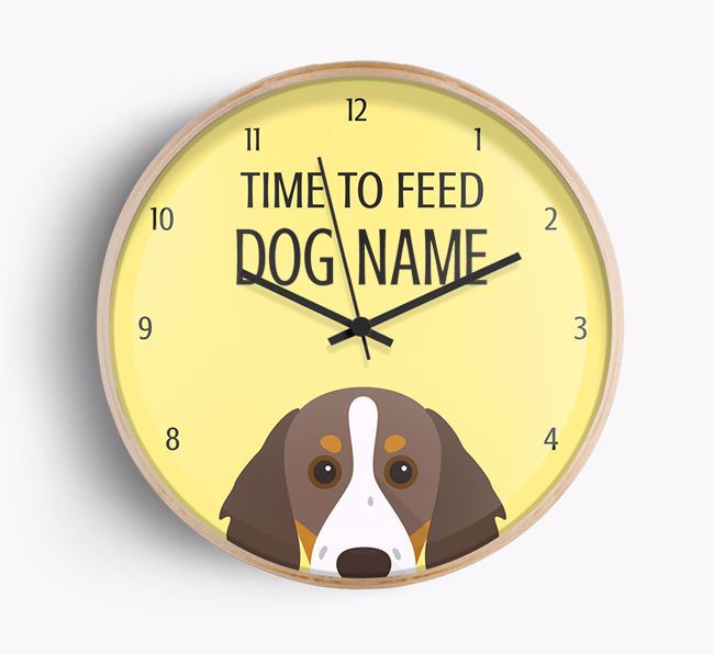 'Time To Feed Your Dog' Black Font Beech Wall Clock