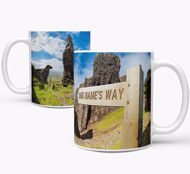 'Hiking Trail' Mug - Personalized with your Flat-Coated Retriever