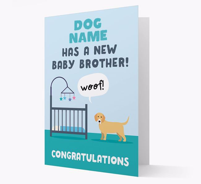 'New Baby Brother' - Personalised Bassador Card