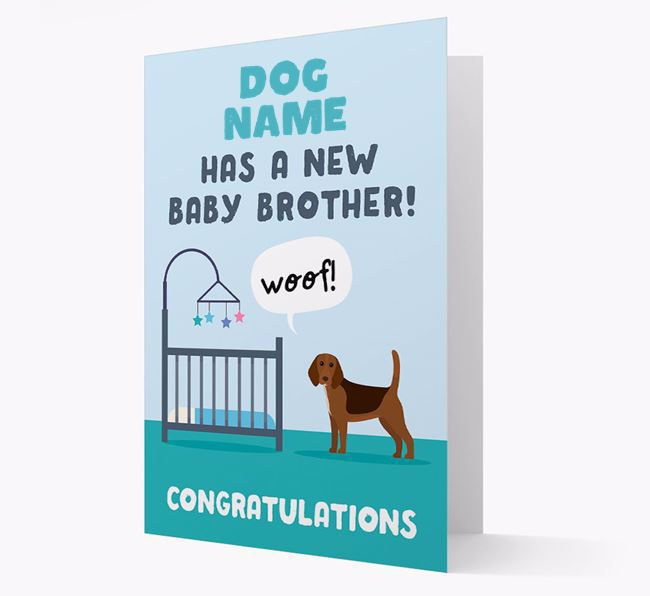 'New Baby Brother' - Personalised Beagle Card