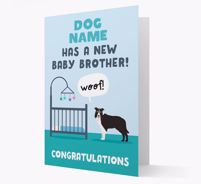 'New Baby Brother' - Personalized Dog Card