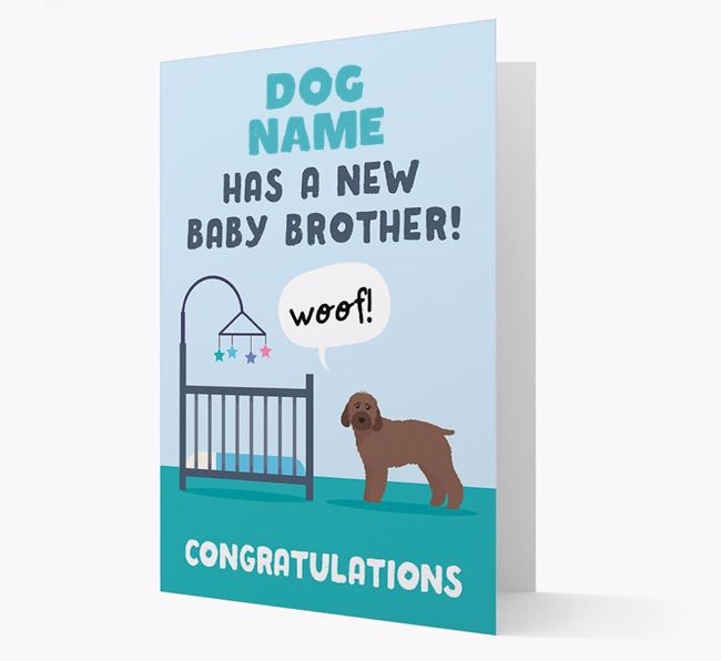 'New Baby Brother' - Personalised Cockapoo Card