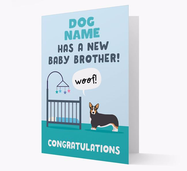 'New Baby Brother' - Personalised Corgi Card