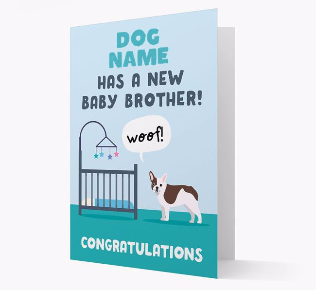 'New Baby Brother' - Personalised French Bulldog Card